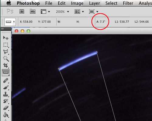 Campsite Star Trails with Photoshop Angle Calculated