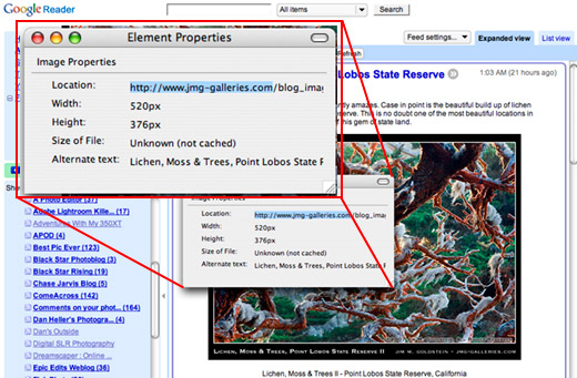 Source Location of Images on Google Reader