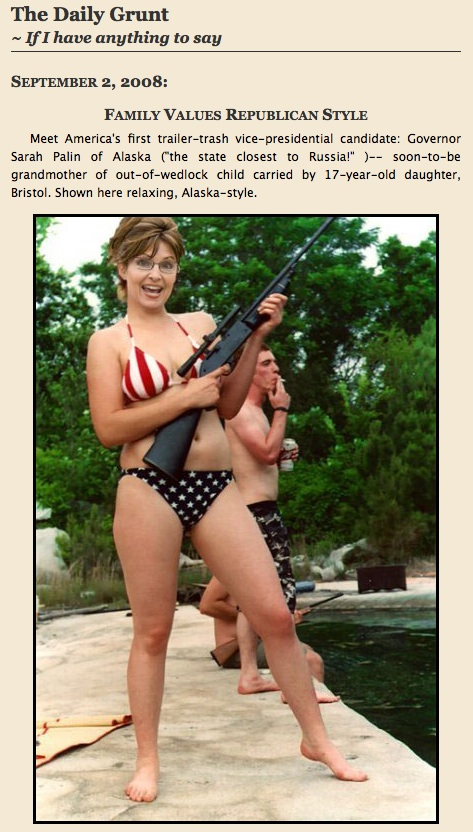 Sarah Palin Republican Vice Presidential nominee in Bikini with Gun