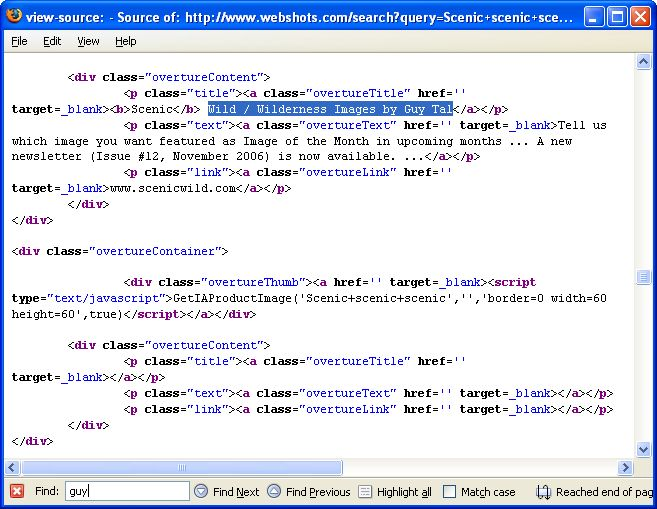 Source Code From Webshots.com Search Result