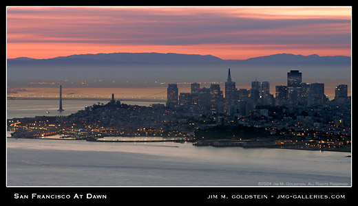 San Francisco At Dawn landscape photograph by Jim M. Goldstein