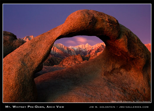 Mt. Whitney Pre-Dawn, Arch View (Mobius Arch) photographed by Jim M. Goldstein