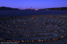 Darkness Falls On the Lands End Labyrinth And Golden Gate Bridge