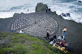 Looking down on the Lands End Labyrinth Prior to the Winter Solstice Fire