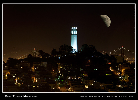 Coit Tower Moonrise, San Francisco cityscape by Jim M. Goldstein