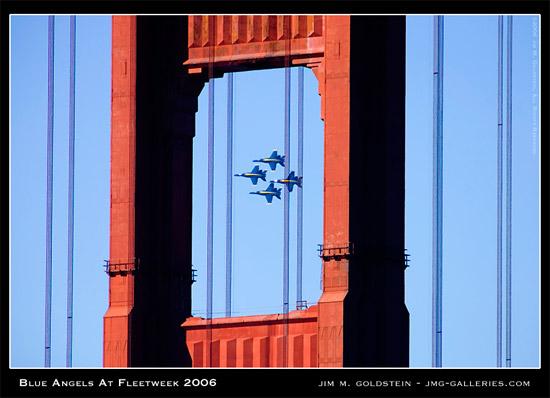 Blue Angels Seen Through The Golden Gate Bridge